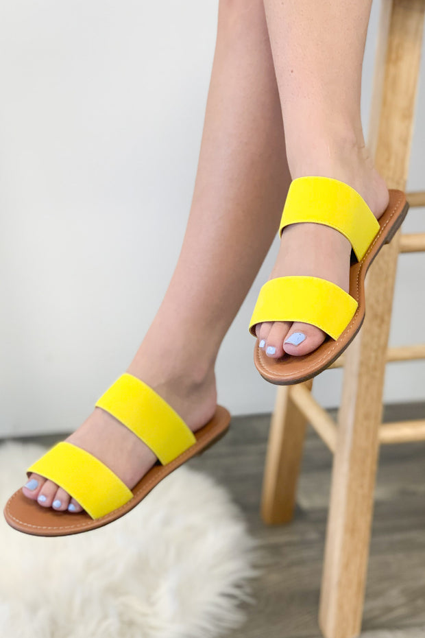 Miley Sandals: Neon Yellow - Shop Spoiled Boutique