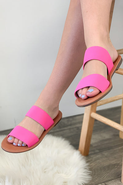 Miley Sandals: Neon Pink - ShopSpoiled