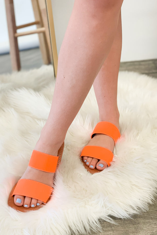 Miley Sandals: Neon Orange - Shop Spoiled Boutique