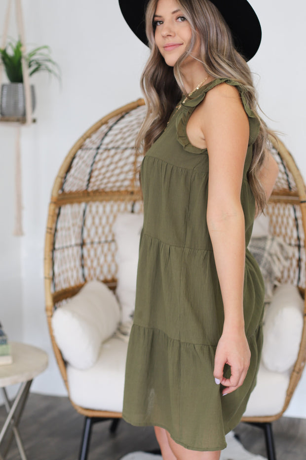 Good To Be Here Dress: Olive