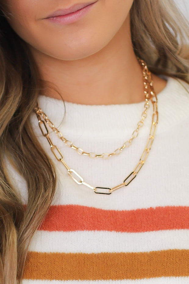 Keep You Guessing Necklace: Gold