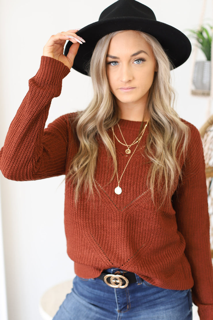 Happily Ever Effortless Sweater: Brick