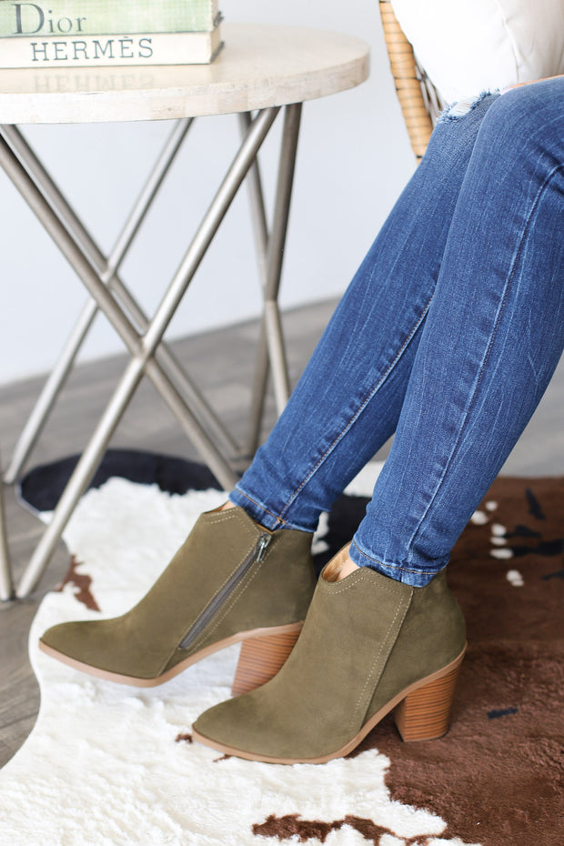 Predict Booties: Olive - ShopSpoiled