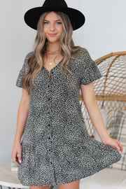 Tina Leopard Dress: Black - ShopSpoiled