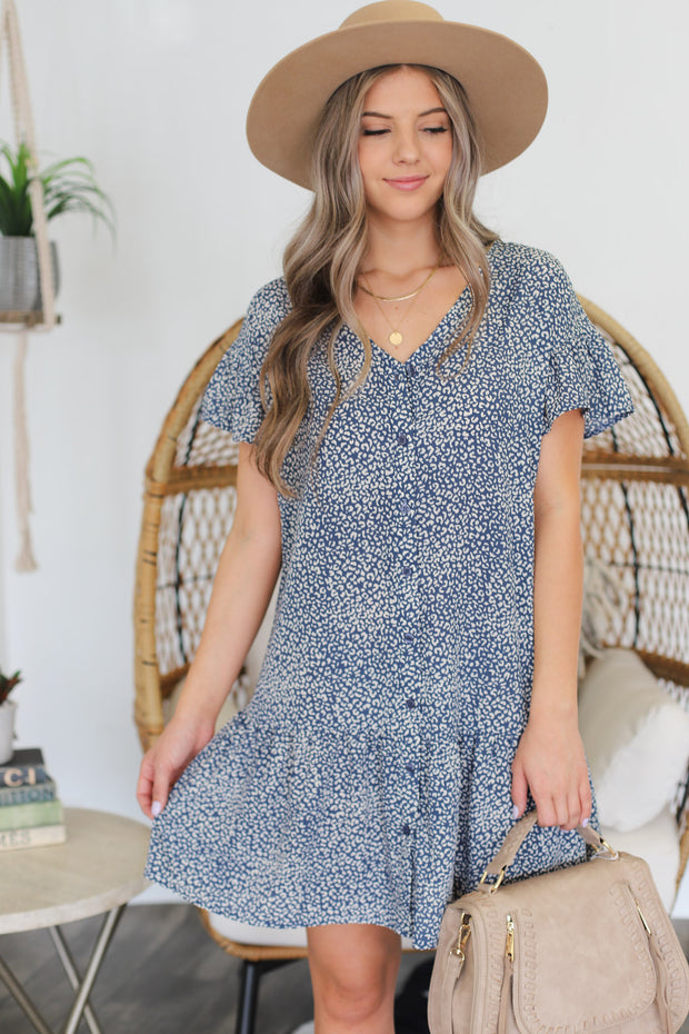 Tina Leopard Dress: Blue - ShopSpoiled