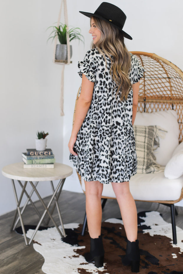 Piper Cheetah Dress: Grey - ShopSpoiled