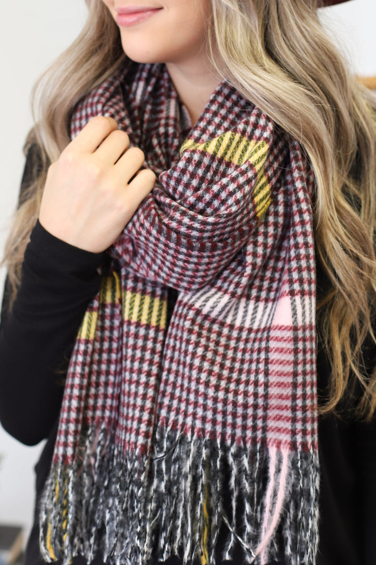 Blanket Scarf: Burgundy - ShopSpoiled