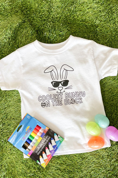 Kids Coloring Coolest Bunny The Block Tee - ShopSpoiled