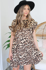 Piper Cheetah Dress: Brown - ShopSpoiled