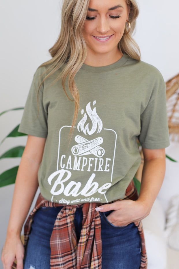 Campfire Babe Graphic Tee: Olive - ShopSpoiled