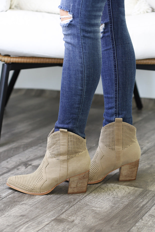 Press Replay Booties: Beige - ShopSpoiled