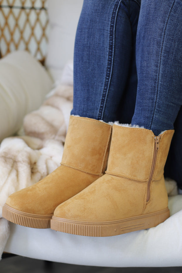 Cozette Ankle Boots: Tan - ShopSpoiled
