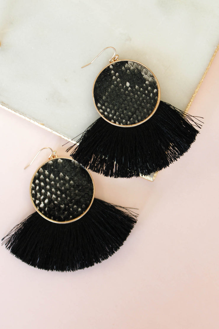 Romy Earring: Black Snake - ShopSpoiled