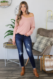 Anywhere With You Pullover: Pink - ShopSpoiled