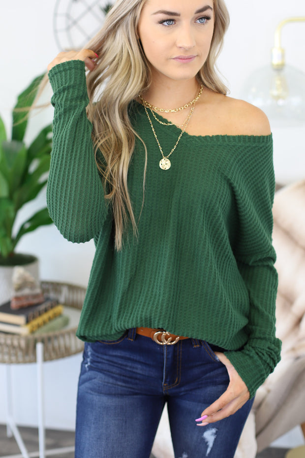 Anywhere With You Pullover: Green - ShopSpoiled