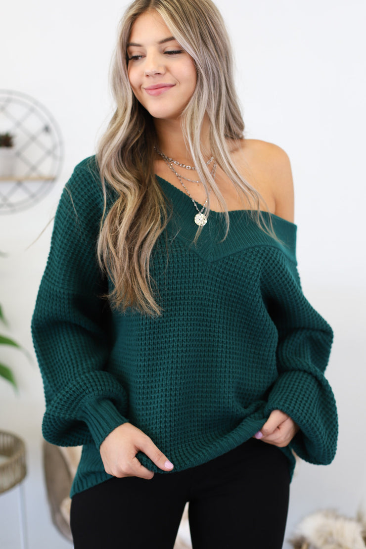 Go with the Flow Sweater: Green - ShopSpoiled