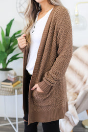 On The Horizon Cardigan: Mocha - Shop Spoiled Boutique