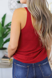 Change My Mind Knit Tank: Red - ShopSpoiled