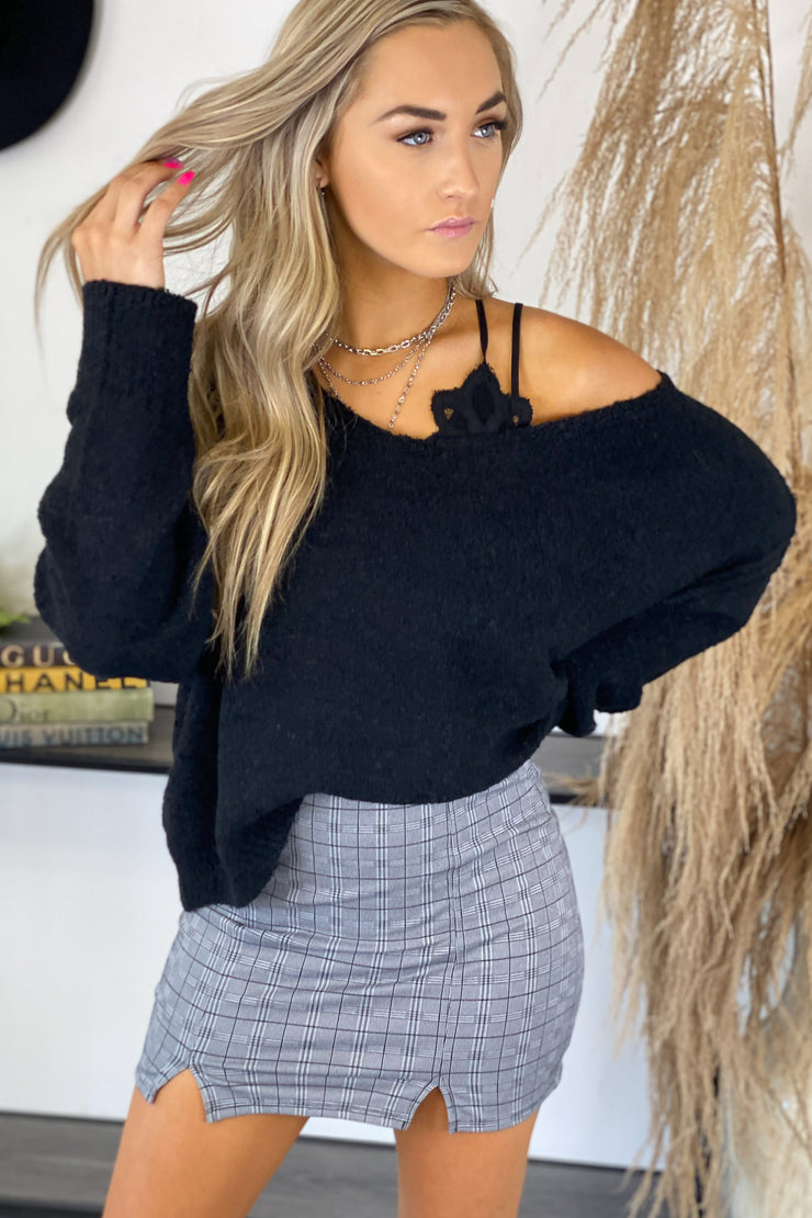 Don't Miss Out Sweater: Black - ShopSpoiled