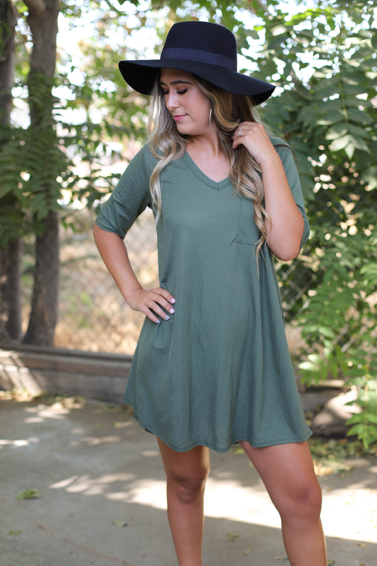 Bluebird Dress: Olive - ShopSpoiled