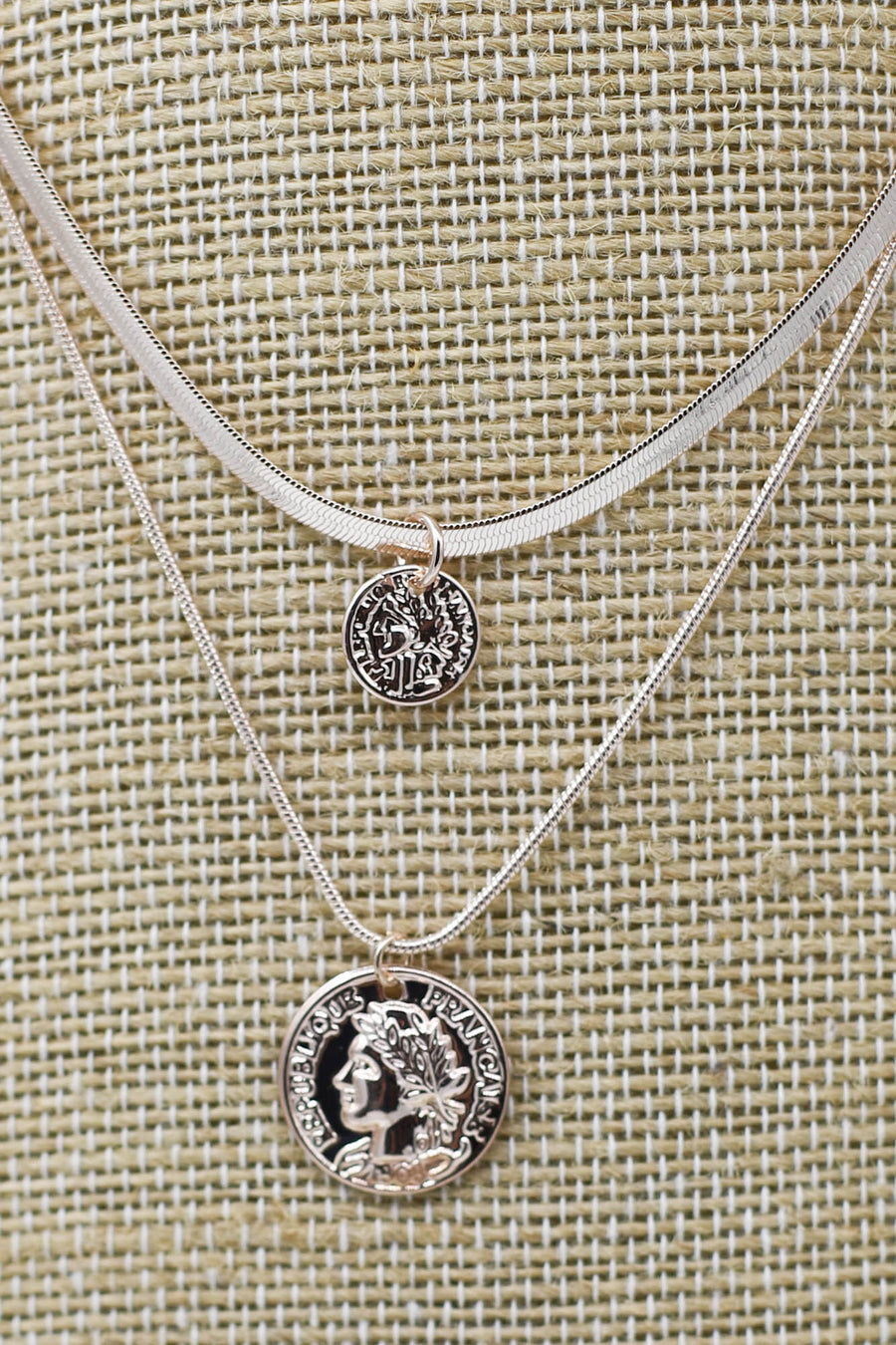 Spartan Rose Gold Layered Coin Necklace - ShopSpoiled