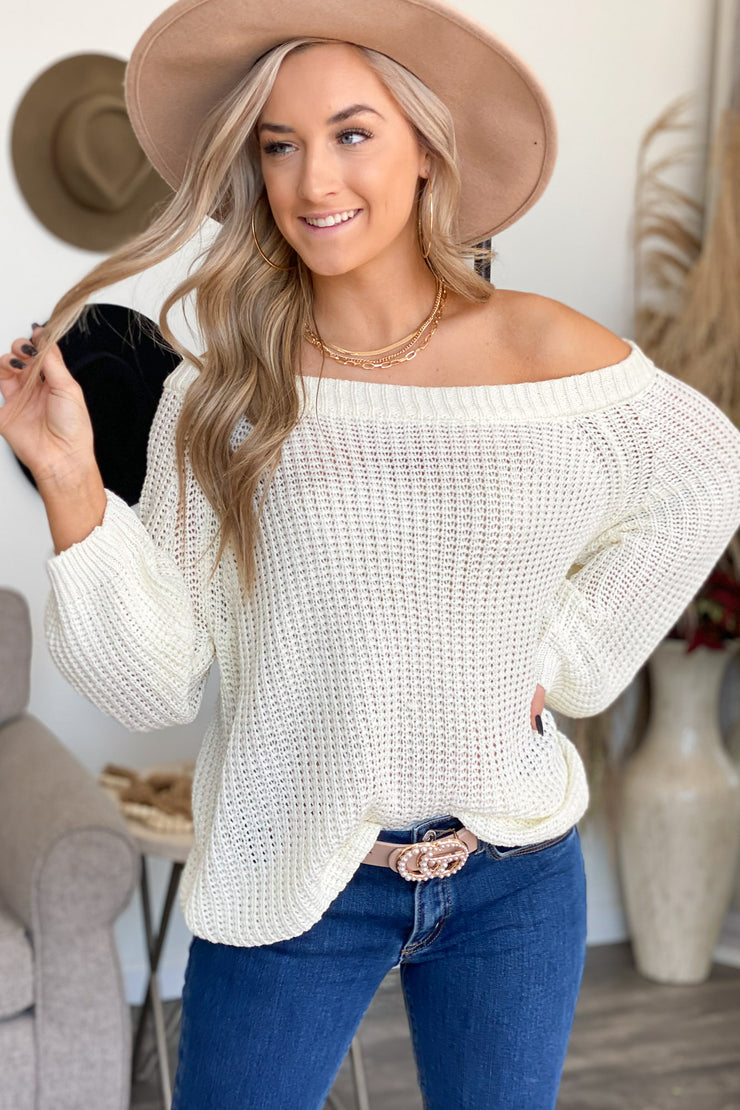 Cozy Up Sweater: Ivory - ShopSpoiled