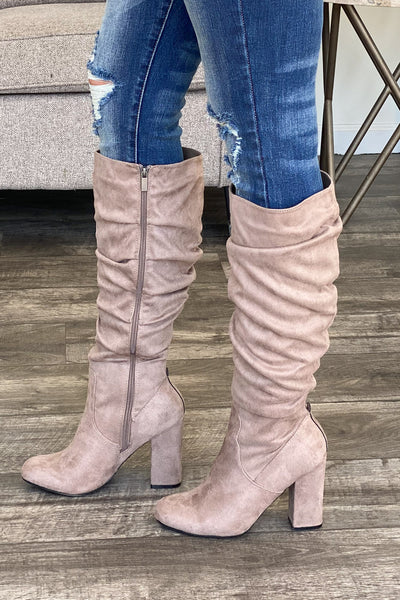 So Much Yes Boots: Taupe - ShopSpoiled