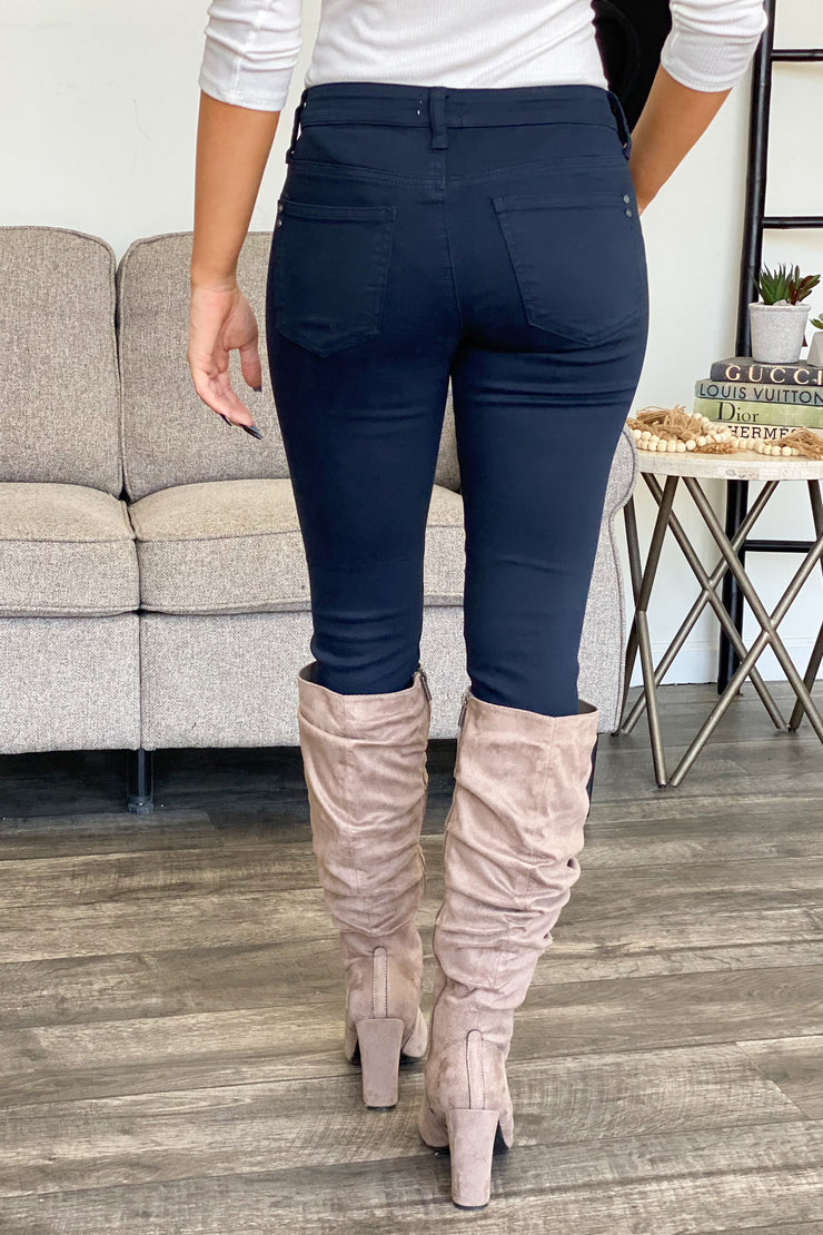 Kariss Navy Jeans - ShopSpoiled