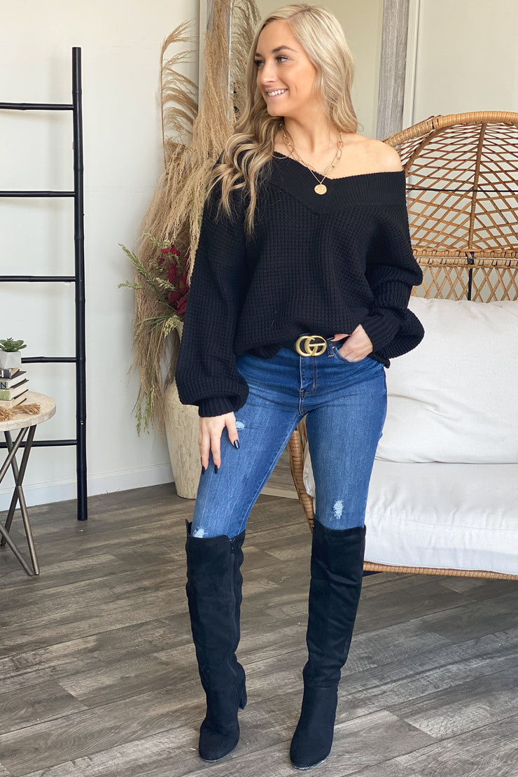Go with the Flow Sweater: Black - ShopSpoiled