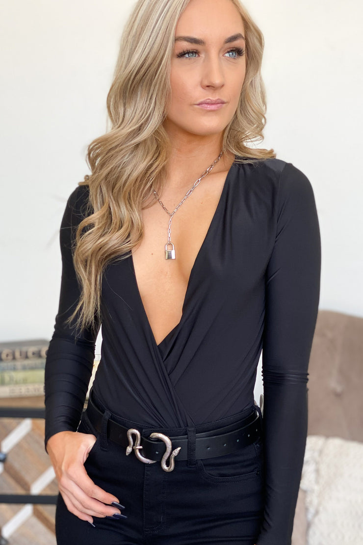 Set The Trend Bodysuit: Black - ShopSpoiled