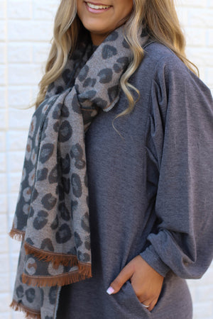 Leopard Love Scarf: Grey - ShopSpoiled