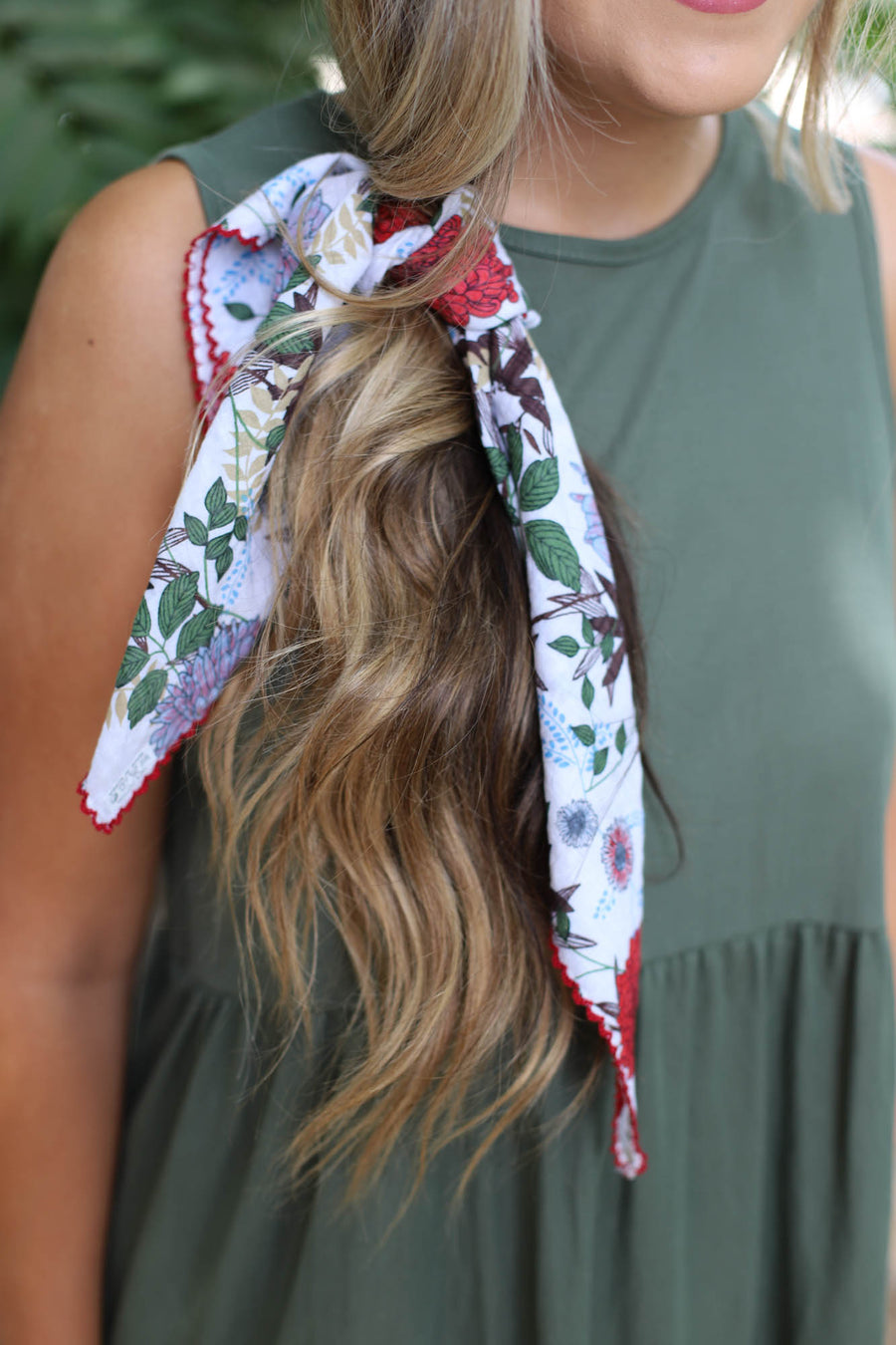 FLORAL TIE HAIR SCARF: WHITE - ShopSpoiled