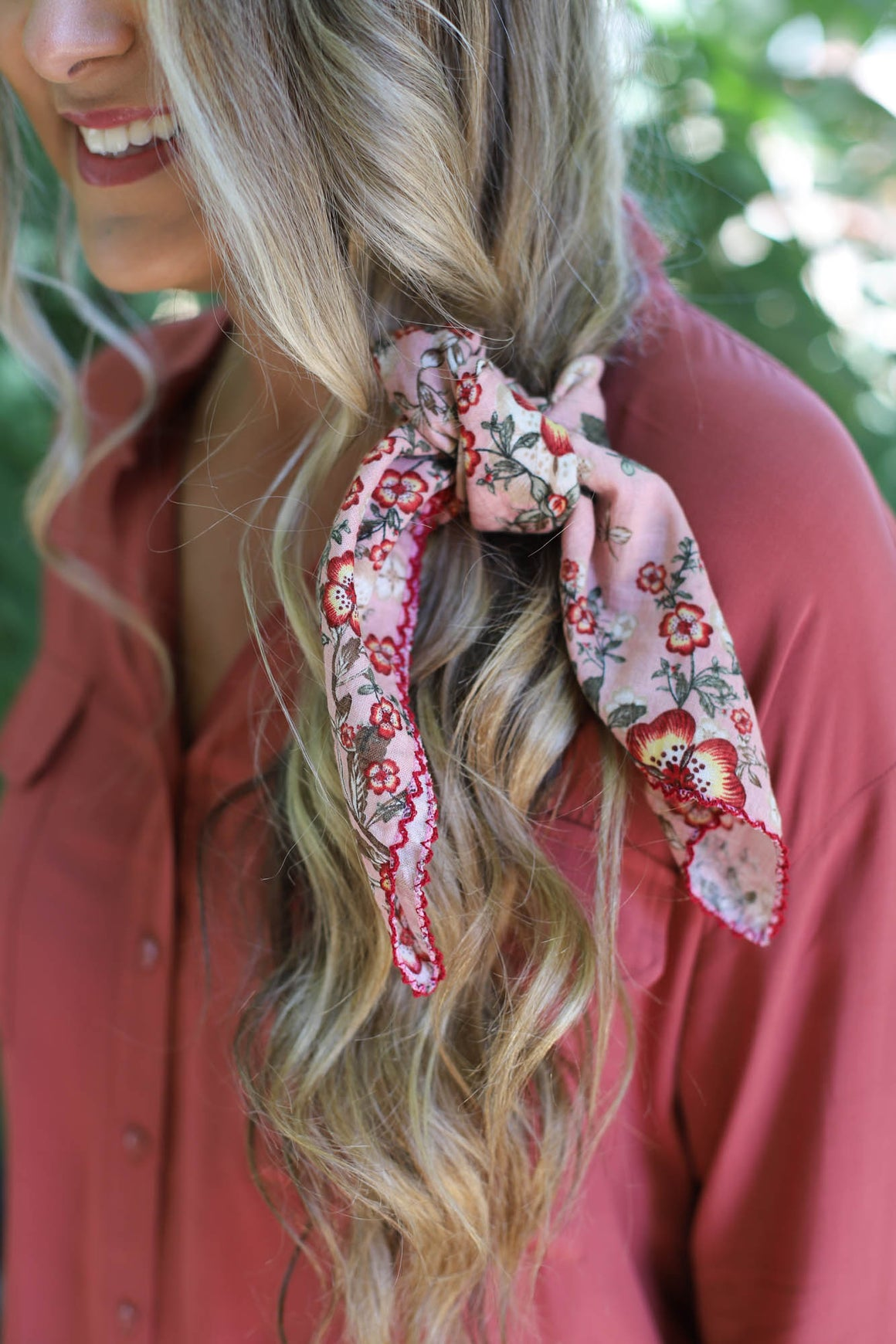 FLORAL TIE HAIR SCARF: PINK - ShopSpoiled
