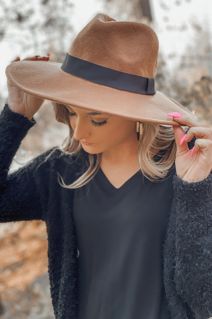 Willow Flat Brim Hat: Tan - Shop Spoiled Boutique