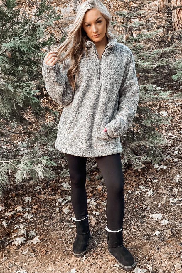 Set The Tone Pullover: Charcoal - ShopSpoiled