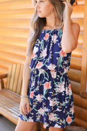 Field of flowers dress: Navy - Shop Spoiled Boutique