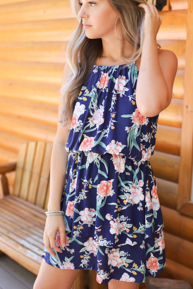 Field of flowers dress: Navy - ShopSpoiled