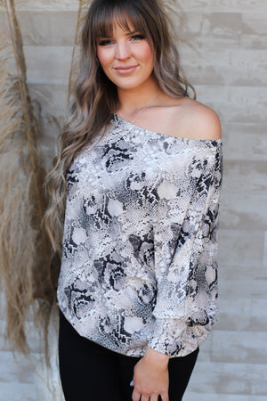Shelly Snakeskin Top - ShopSpoiled