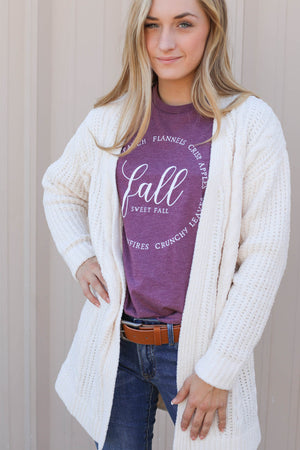 Fall Sweet Fall Graphic Tee: Plum - ShopSpoiled