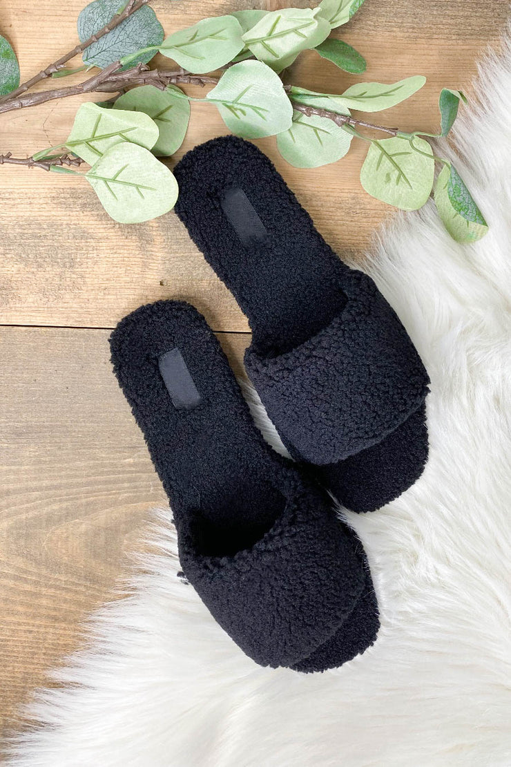 Upbeat Slippers: Black - ShopSpoiled