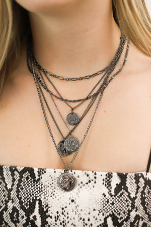Atlantas Multi Layered Chain Necklace Pewter - ShopSpoiled