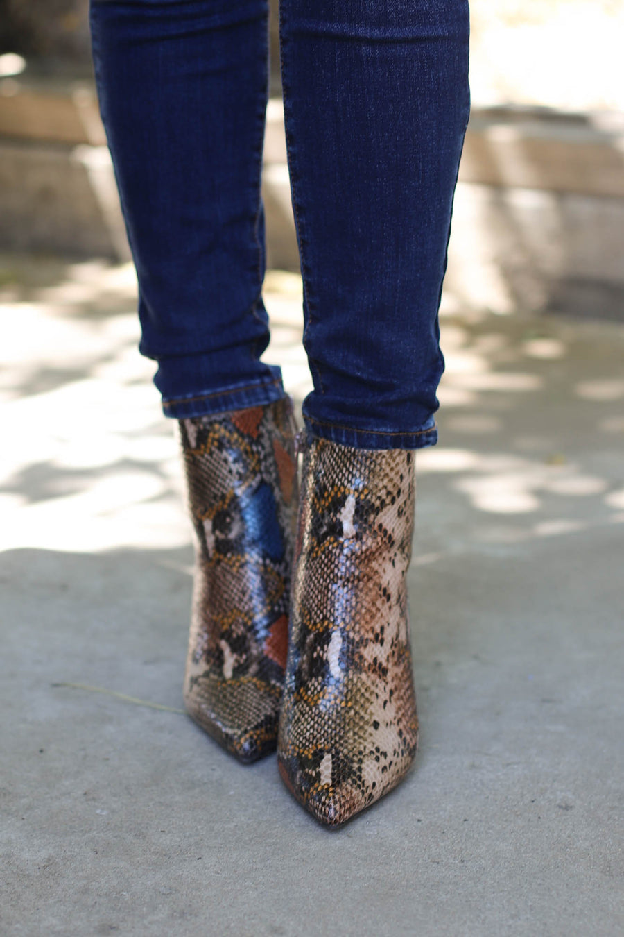 Bell Snake Booties- Tan - ShopSpoiled