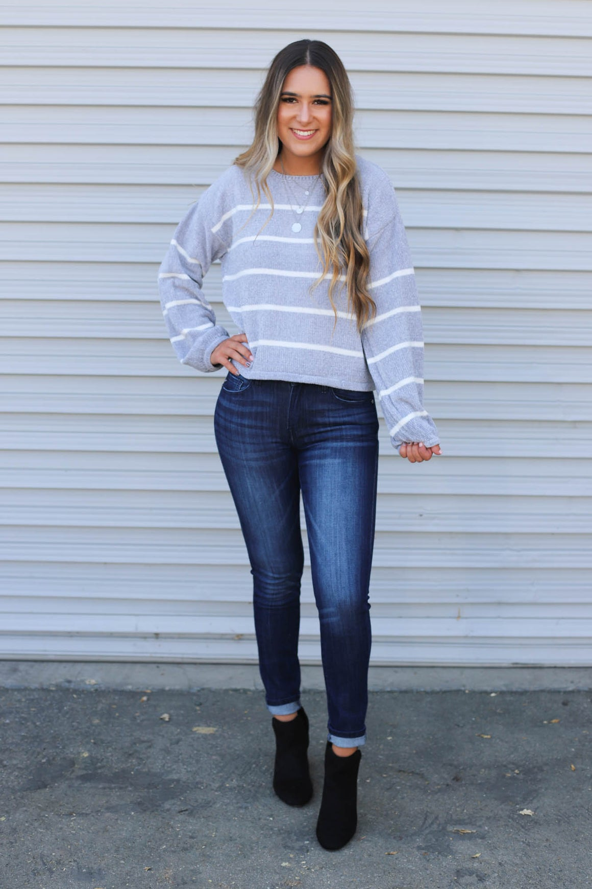 Spotlight Nights Sweater: Grey - ShopSpoiled