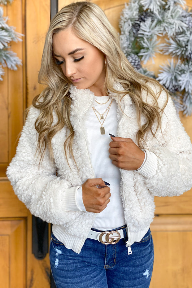 Sure Thing Sherpa Jacket: Ivory - ShopSpoiled