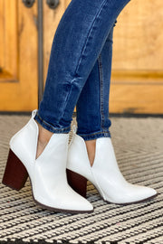 Celeste Booties: White Croc - ShopSpoiled