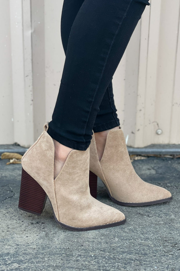 Celeste Booties: Taupe - ShopSpoiled