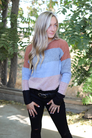 Let's Hear It For The Boys Sweater: Rust/Grey - ShopSpoiled
