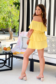 East Port Ruffle Romper: Yellow - ShopSpoiled