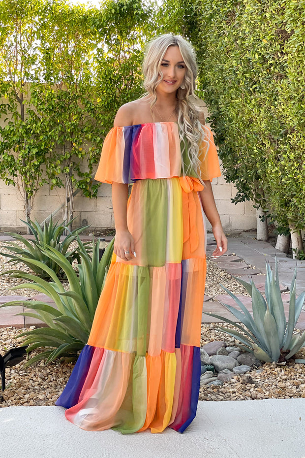 Watercolor Wishes Maxi Dress: Orange - ShopSpoiled