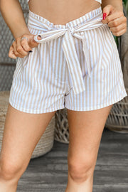 Sunset Striped Shorts: Taupe - ShopSpoiled